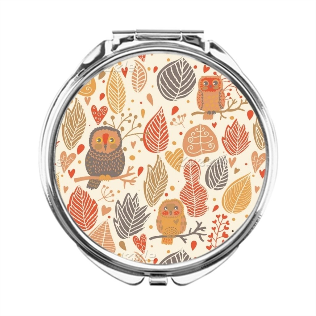 Dream Stage Autumn pattern. Owls in the forest Mirror Makeup Table