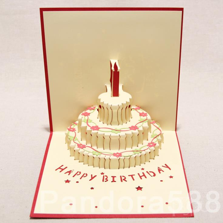 [ 3D Greeting Card ] Handmade 3D Pop Up Three Tiered Cake