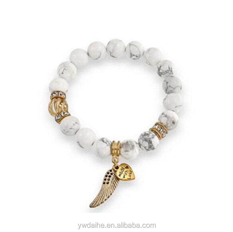 Daihe Jewelry 2017 Gemstone Bracelets With Angel Wing Charms &Gold Plated hot sale retail