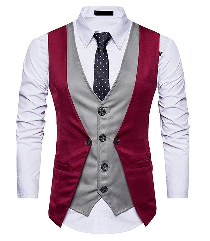ainr Mens Business Waistcoat Irregular Layered Vest Slim Fit Casual Vest