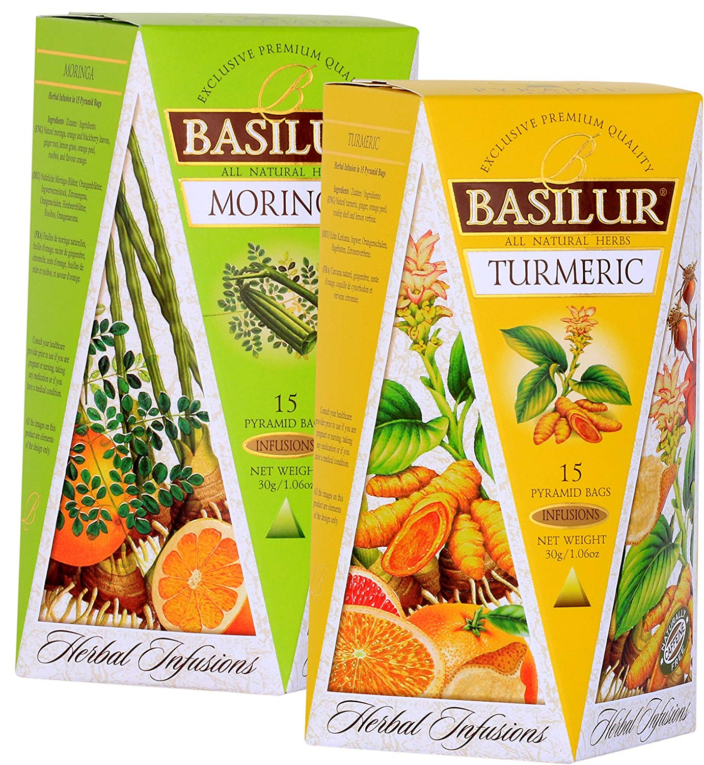 Basilur | Herbal MORINGA & TURMERIC | Herbal Infusions Collection | 100% All Natural Herbal Tea | 15 Count Luxury Pyramid Sachets | Pack of 2