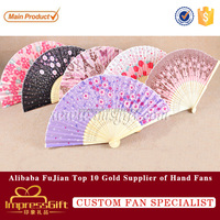 Chinese Bamboo Silk Hand Fan with Flowers Wedding Party Gift