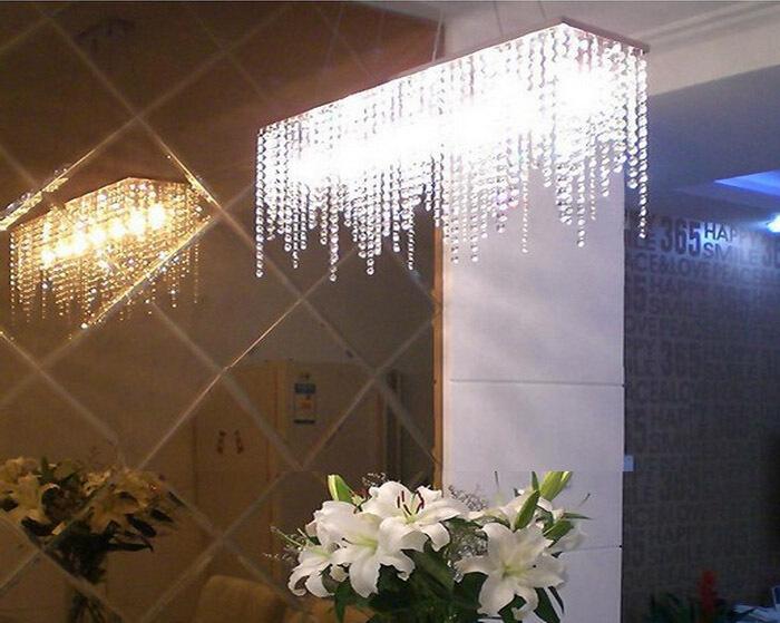 buy modern rectangular raindrop crystal chandelier pendant lamp lighting. Black Bedroom Furniture Sets. Home Design Ideas
