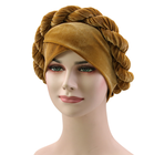 Velvet Cap African Style Headwear Cap African Style Muslim Turban Hair Accessories Fashion Women Solid Braided Bandanas Headwear