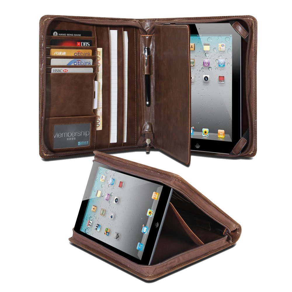 iPad Case, GMYLE Business Portfolio Travel Case for iPad 2/iPad 3/iPad 4/ iPad Air iPad 5 - Brown R-64 Pattern PU Leather Protective Notepad Multi-Purpose Professional Executive Zipped Slim Folio Stand Case Cover (with Card Slots and Money Pocket)