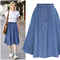 Autumn Fashion Women Korean Cute Blue Flare Pleated Skirt Elastic Waist Single Breasted Ladies Denim Jeans Maxi Skirts