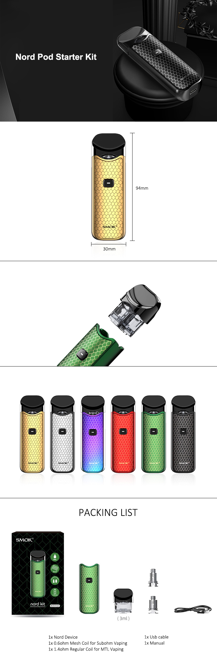In Stock!!smok Nord Pod Vape Kit With 1100mah Battery 3ml Cartridge Mesh  Coil Electronic Cigarette Vape Pod Kit Vs Smok Novo - Buy Smok  Nord,Smoktech