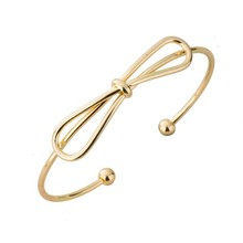 2016 New 18 carat gold 24k oro bangles and bracelets bow knot fashion simple design