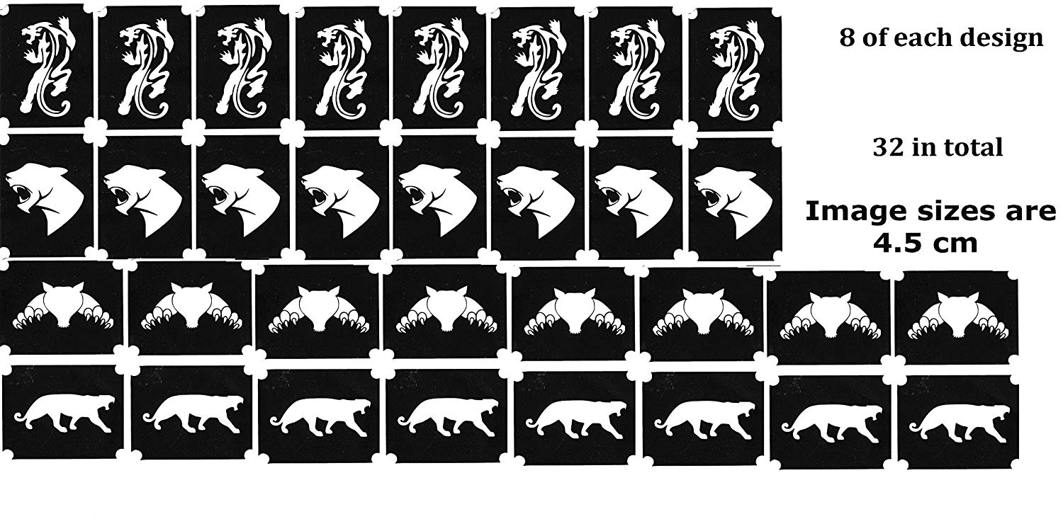 panther Collection (32 Tattoo Glitter Airbrush Stencil Panther)