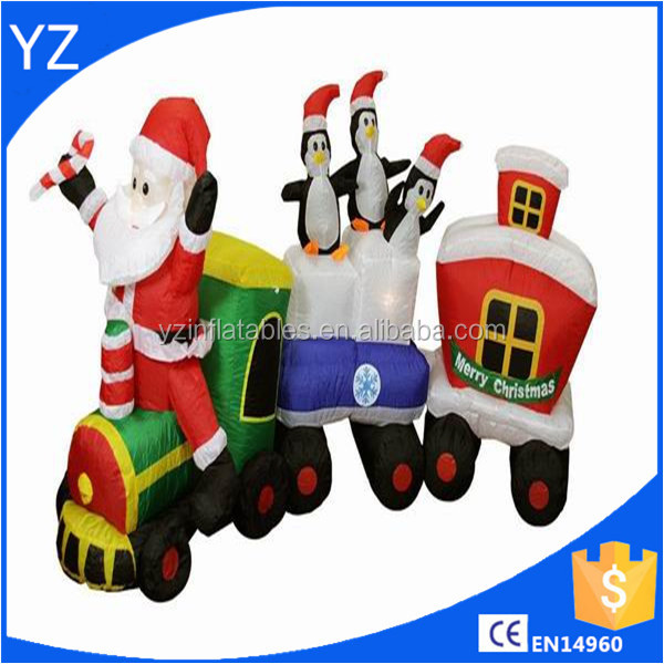 Inflatable Santa Claus Train Lighted