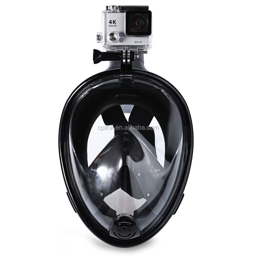 Black Full Face Snorkel Mask Scuba Diving Mask With Sports Camera Mount For GoPro Hero 4/3/3+/2/1 xiaomi Yi SJcam Action Camera