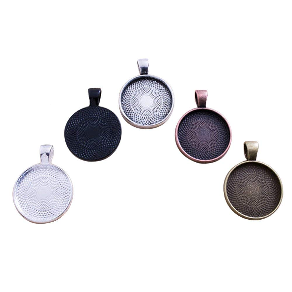Autupy 25 Pieces 5 Colors Pendant Trays Round Bezel, 25 Pieces Glass Cabochon Round Clear Dome-25 mm/1 inch Diameter (Colorful)