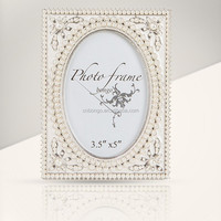 3x5 metal alloy wedding picture frame with pearls