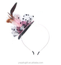 fancy dress costume accessories top hat headband with bow & feather