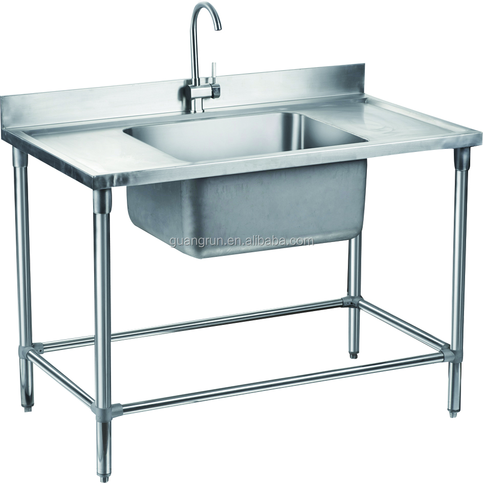 Double Bowl Hotel Used Free Standing Commercial Stainless Steel Kitchen Sink With Drainboard Gr