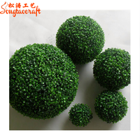 Plastic hot sale 28 cm topiary boxwood ball grass leaf effect indoor outdoor hanging decoration ball