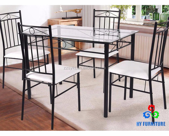 Metal Frame Glass 5 Piece Dining Table Set Kitchen Breakfast Table