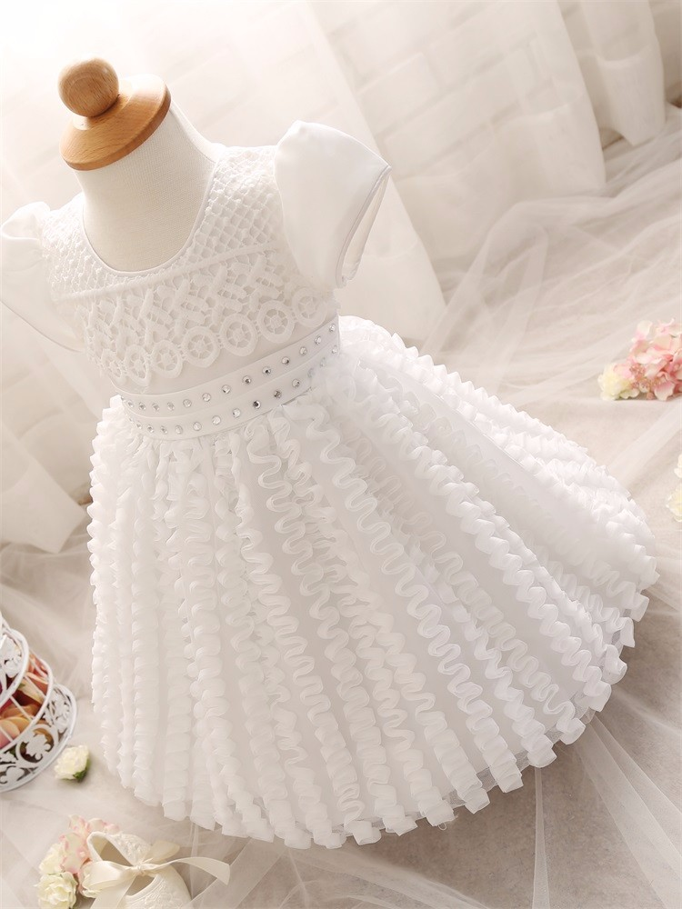 b64723b6ff4e Wholesale- Baby Girl Dress girls Wedding clothing Princess Christening  infant Dress Girl 1 Year Birthday party kids Dresses Girl clothes