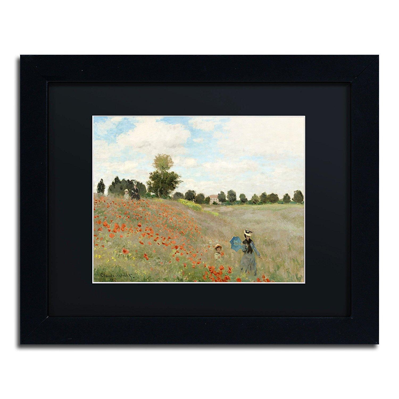 Trademark Fine Art Wild Poppies Near Argenteuil Framed Artwork by Claude Monet, 11 by 14-Inch, Black