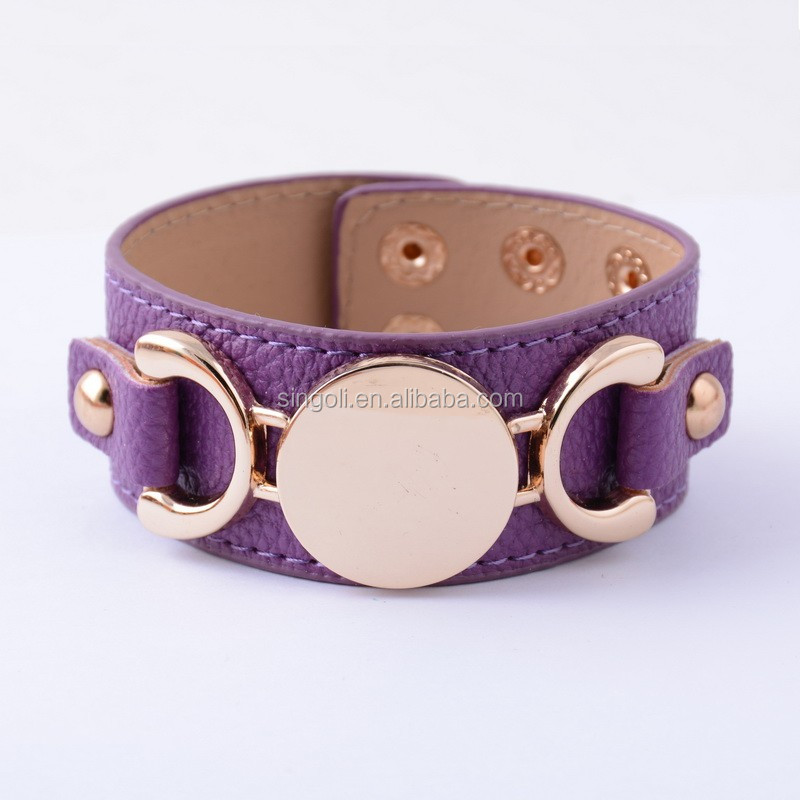 2017 personalized monogrammed disc leather bracelet for women