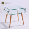 Hot sale bent glass end table curved glass with beech wood leg
