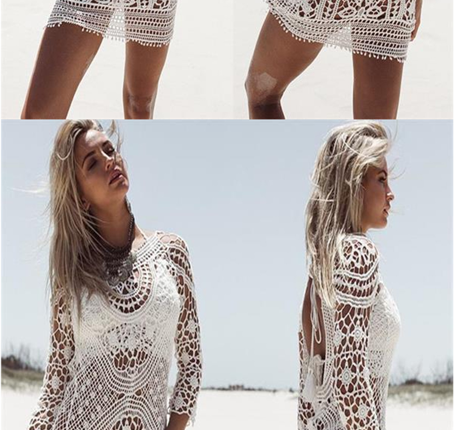 Sexy Lace Crochet Hollow-Out Backless Beach Bikini Blouse 76f34bc407bb4