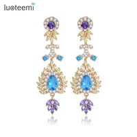 LUOTEEMI Luxury Multi Colors Cubic Zirconia Drop Earrings High Quality Women CZ Diamond Party Costume Jewelry