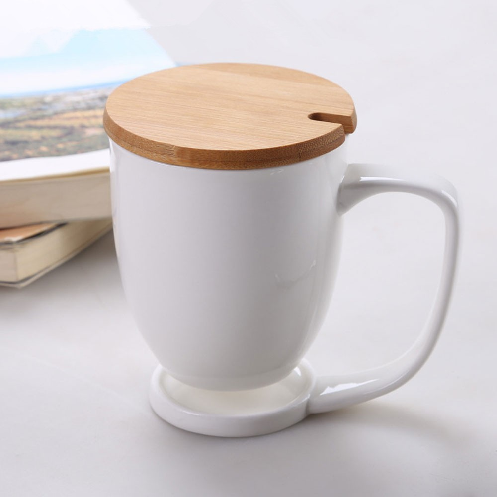 unique cup handle fine porcelain white coffee cup wooden / bamboo cover