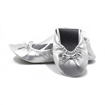 Silver Dancing Foldable Ballet Flat Shoes For Wedding After Party ... 1cf7aa704