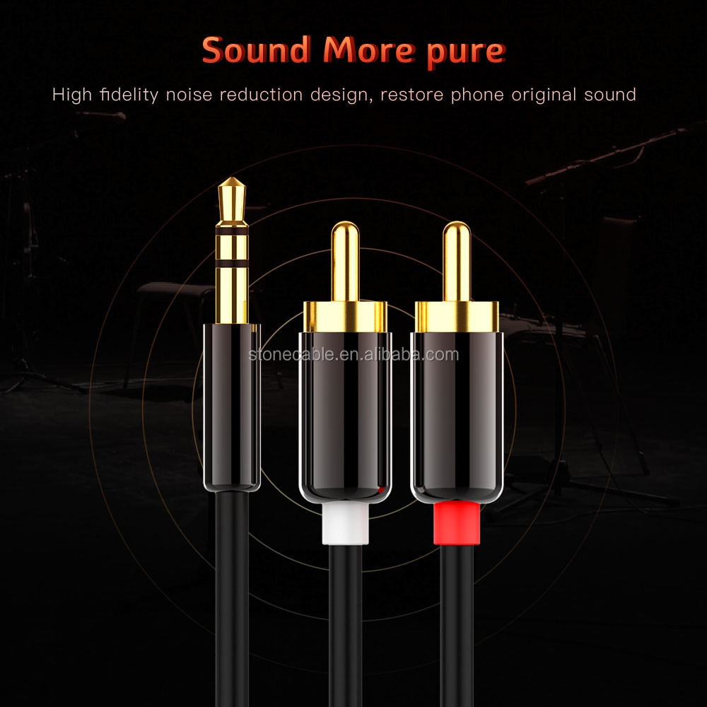 Audio Cable 2RCA to 3.5 Audio Car Cable for Amplifier Phone Headphone Speaker RCA 3.5mm Jack Male to Male RCA AUX Cable