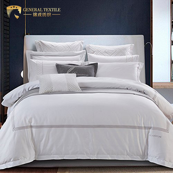 Egyptian cotton embroidery design satin jacquard bedding set hotel sheet set