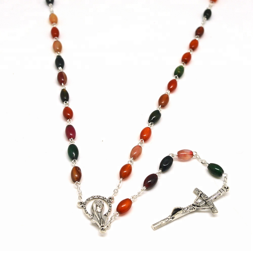 Silver Chain Religious gift Agate Material Rosary Jewelry Handmade in China
