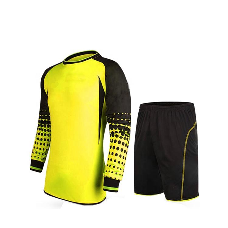 แขนยาวสีชมพูสดใสและสีเขียวผู้รักษาประตูเสื้อฟุตบอล Jersey ชุด
