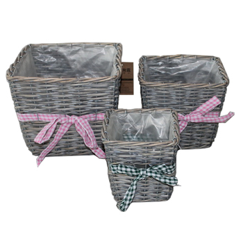 Gray wicker flower baskets