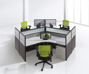 Simple Design Office Table cubicle 120 Degree dividers 3 Seats Workstation (SZ-WS126)
