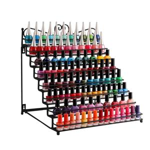 8 Tier Black Metal Shelf Nail Polish Wall Rack Essential Oils Perfume Table Top Organizer Display Stand