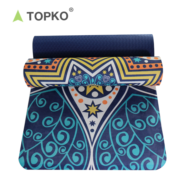 TOPKO de Eco amigable Digital impreso TPE de Yoga Mat