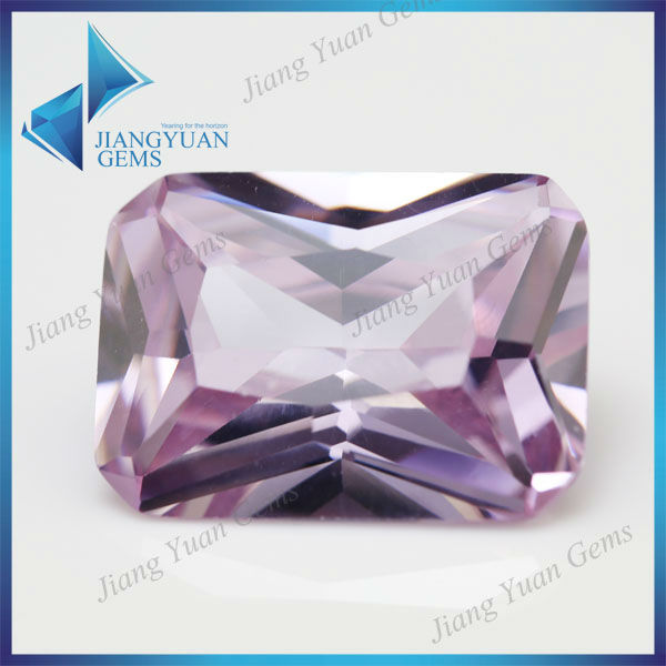 High Quality Rectangle Princess Cut Lavender Cubic Zirconia Stone