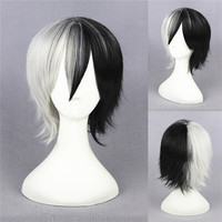 wholesale 35CM short black white Dangan Ronpa Monokuma anime cosplay wig for men