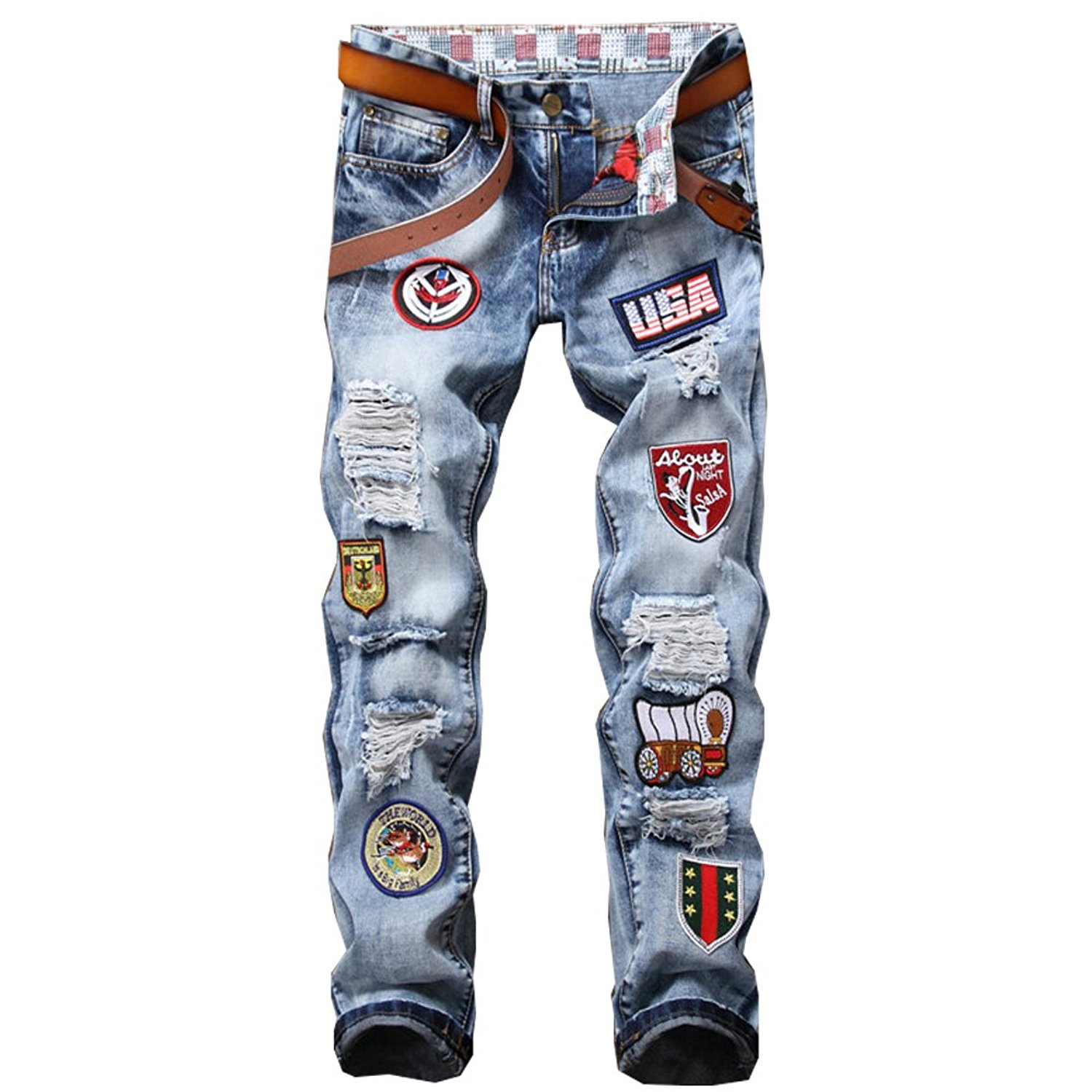 6c36b442 Get Quotations · Milan Station Men's Embroidery Ripped Biker Destroyed  Badges Patchwork Jeans with Hole