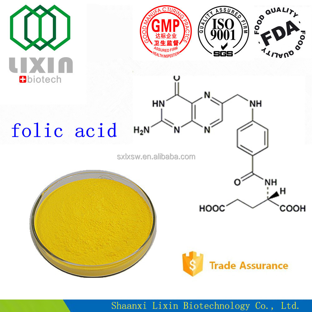 Folic Acid raw material(feed additive, food additive, pharmaceutical USP28/BP2003)(Cas no:59-30-3), OEM folic acid tablet