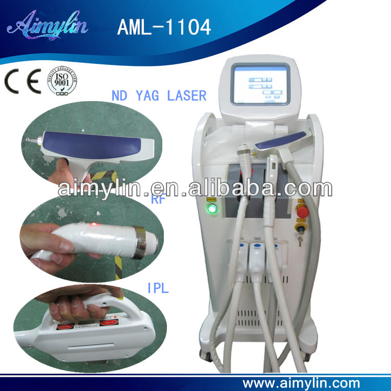 hair moval and skin care machine with yag ipl rf