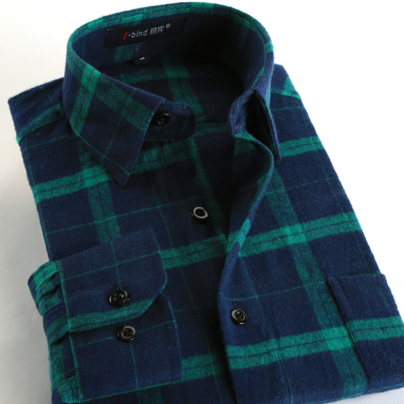 Spring Fall 2016 New Mens Casual Plaid Shirts Long Sleeve Slim Fit Comfort Soft Flannel Cotton