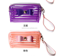 wholesale factory price beautiful bow decoration clear pvc cosmetic bag