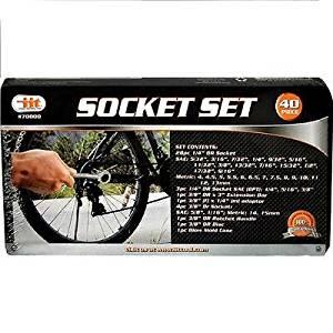 "Tool Storage Organizers 40pc SAE & Metric Sockets Set 1/4"" & 3/8"" w/ Ratchet & Case 6pt Hand Tools 70000"