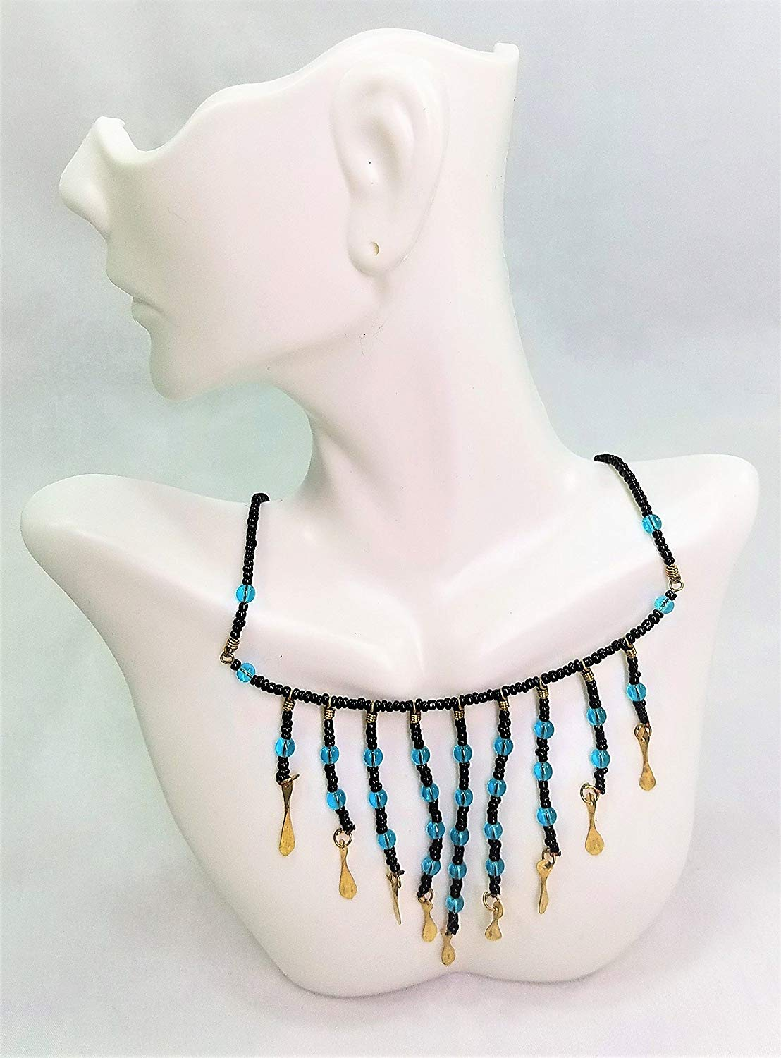 36cc6bbf653 Get Quotations · Blue and Black Masai Maasai Hanging Beaded Chains Necklace