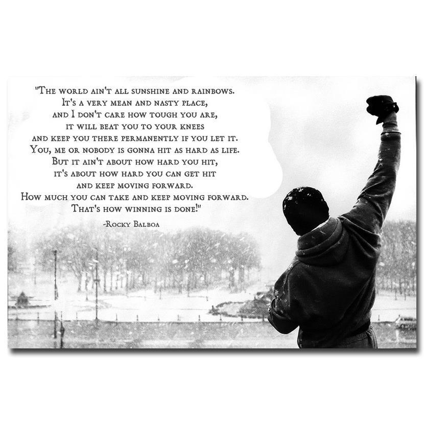 ROCKY BALBOA Motivational Quotes Art Silk Fabric Poster