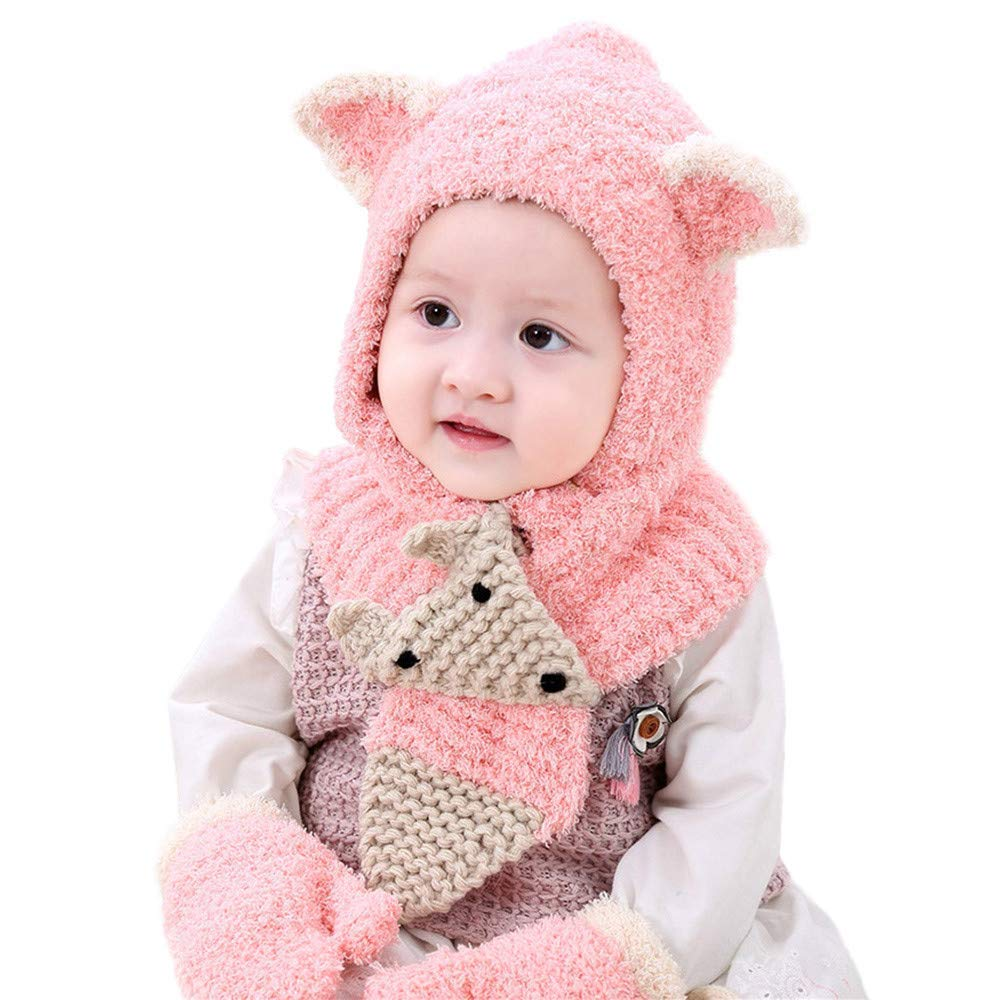 41253cb7b90 Get Quotations · Inkach Baby Girls Boys Winter Hat Scarf Gloves Set Kids  Earflap Hood Scarves Crochet Knit Skull