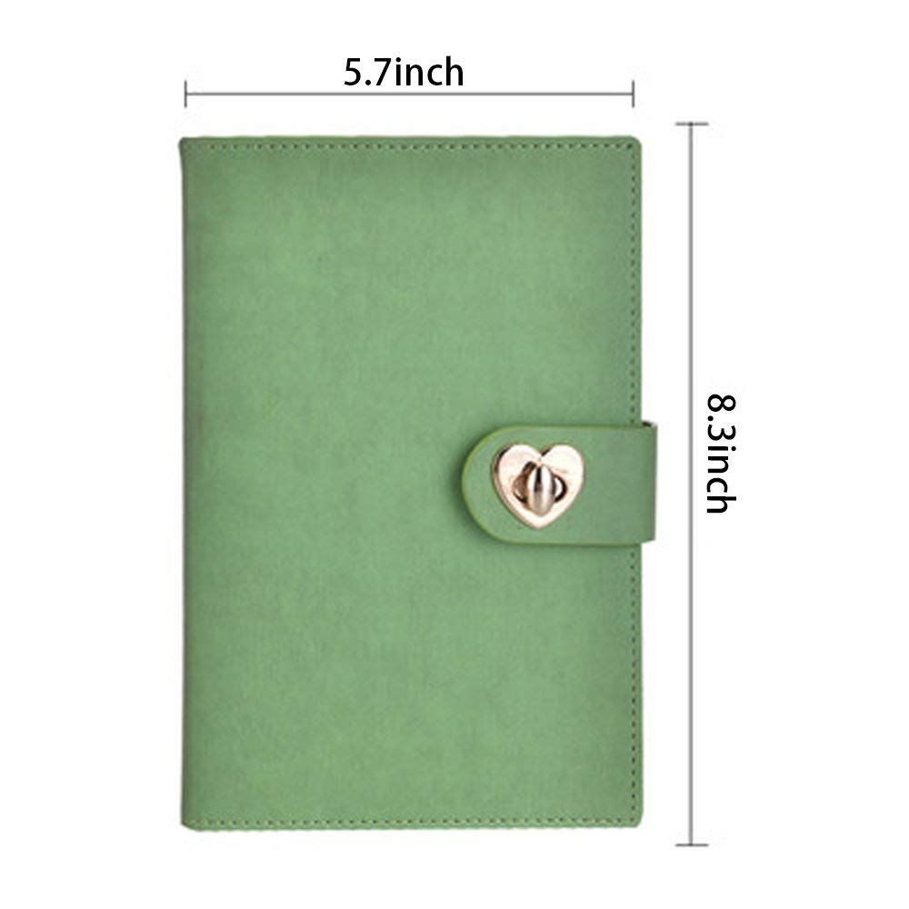 Heart Shape Buckle PU Leather Hard Cover Business Journals/Notebooks with Phone&Card Pocket, Premium Classic Thick Paper Notebook for Journal Writing, Business & Study Note-Taking(Green)
