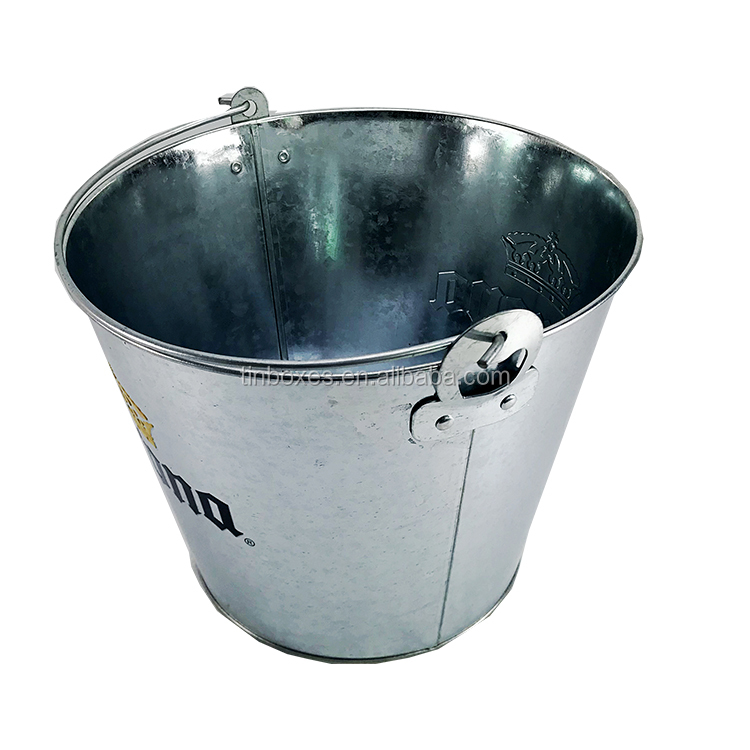 Round Bar Metal Galvanized Ice Bucket For Champagne